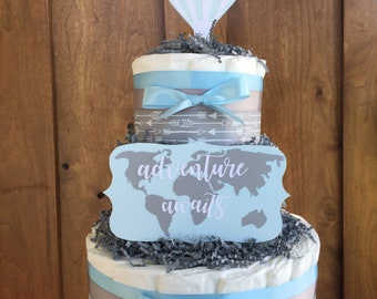 Adventure Awaits Boy Diaper Cake,Hot Air Balloon Adventure awaits Boy Decorations, Baby Shower Table Centerpiece, Adventure awaits baby sign
