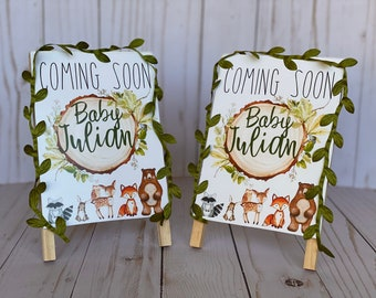 Forest Animals Handmade Baby Shower Signs, Table Decorations, Woodland Baby Announcement, Welcome Baby Sign, Forest Theme Party
