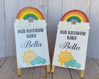 2 Rainbow Baby Shower Signs, Handmade, Baby shower centerpieces for tables and pictures.