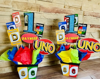 UNO Birthday Party Centerpieces, Set of 2, first birthday, UNO centerpiece fiesta decor, 1st birthday, birthday party decorations