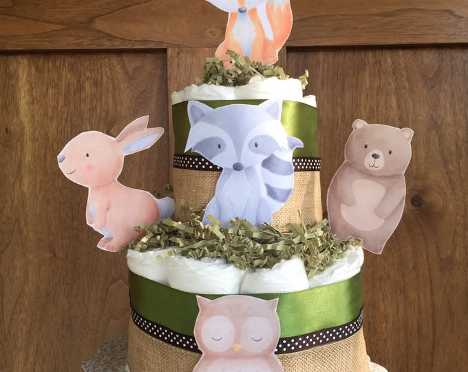 Featured listing image: Forest Friends Diaper Cake, Woodland themed baby shower centerpiece, watercolor woodland baby shower gift, table decor