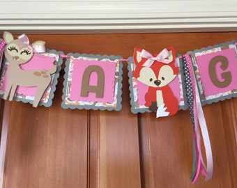 Woodland baby shower banner, forest baby shower banner, it's a girl banner, woodland decorations, baby shower decor