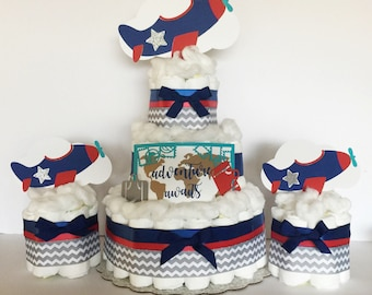 Airplane Baby Shower Decorations, airplane decor, vintage airplane Diaper cake, table centerpiece, airplane table party decorations