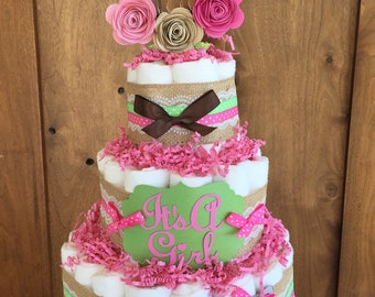 Woodland Baby Shower decor Diaper Cake, Girl woodland baby Shower Decorations, Girl Deer Baby Shower, rustic pink diaper cake shabby chic