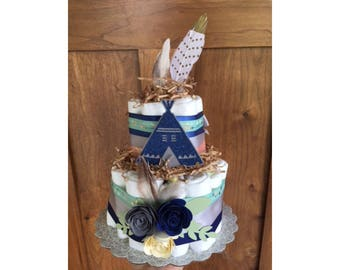 Tribal Baby shower Diaper Cake, Be brave baby shower decorations, Teepee Baby Shower, Boho Diaper Cake, Woodland Diaper Cake Baby Shower