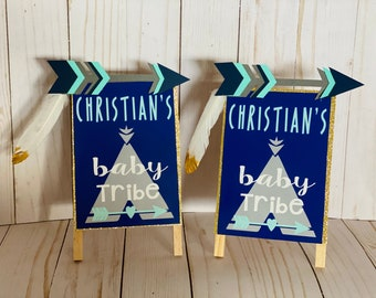 Baby Tribe Sign, Handmade Signs set of 2, Arrows Teepee signs, customizable, baby shower, birthday party