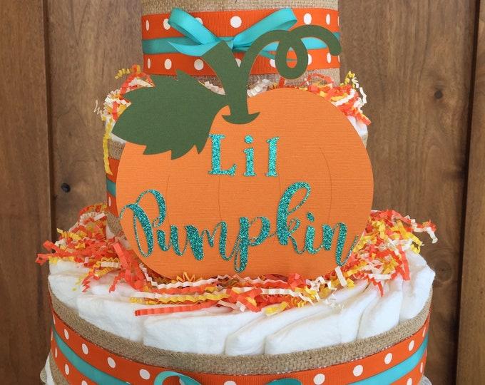 Featured listing image: Fall baby shower decorations, Baby Pumpkin Decor,Pumpkin baby shower table centerpiece,Lil pumpkin diaper cake, Fall shower theme supplies