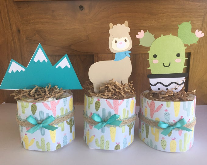 Featured listing image: Cactus Baby Shower Decorations, Cactus Baby Shower Theme, Diaper Cakes, Llama Desert Shower