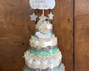 Twinkle Twinkle Little Star Baby Shower Diaper Cake, Twinkle Twinkle Little Star Decorations, Twinkle Little Star Shower Centerpiece