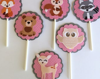 Woodland cupcake toppers, woodland cake toppers, woodland party topper