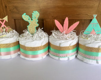 Tribal Boho Baby Shower Diaper Cakes, Adventure Awaits Diaper Cake, Set 4, Mint Diaper Cake, Deer Arrows Baby Shower Centerpiece