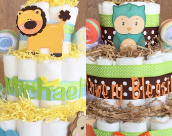 Woodland Jungle Diaper Cake, Animals Diaper Cake, Woodland Baby Shower Centerpiece, Decorations, Table Decor, Woodland Baby Decorations
