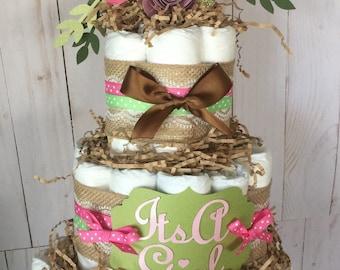 Woodland baby shower, diaper cake kit, woodland forest animals decor, cake topper deer shower