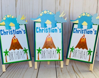 3 Handmade Birthday Party Signs, Centerpieces, Party Table Decor, Dinosaur Birthday Sign, first birthday decorations
