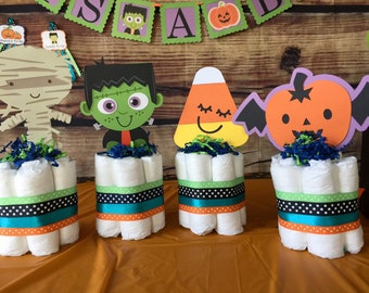 Halloween Baby Shower Decorations, Monster mash, Diaper cakes, Table Centerpiece, Fall Baby, pumpkin baby