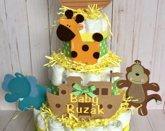 Noahs Ark Baby Shower, Noah's Ark Decor, Table Centerpiece, Noah's Ark Diaper Cake