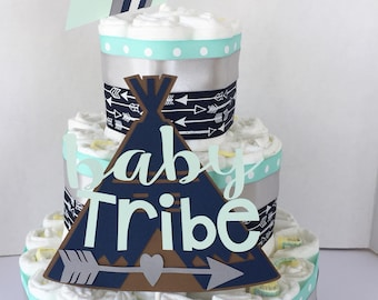 Tribal Baby Shower Decor, Tribal Diaper Cake Kit, DIY diaper cake set, arrows Teepee baby shower, tribe baby
