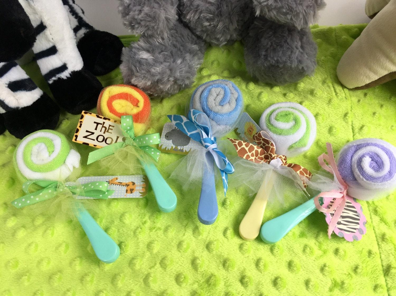 Baby Shower Jungle Decorations Washcloth Lollipops Washcloth