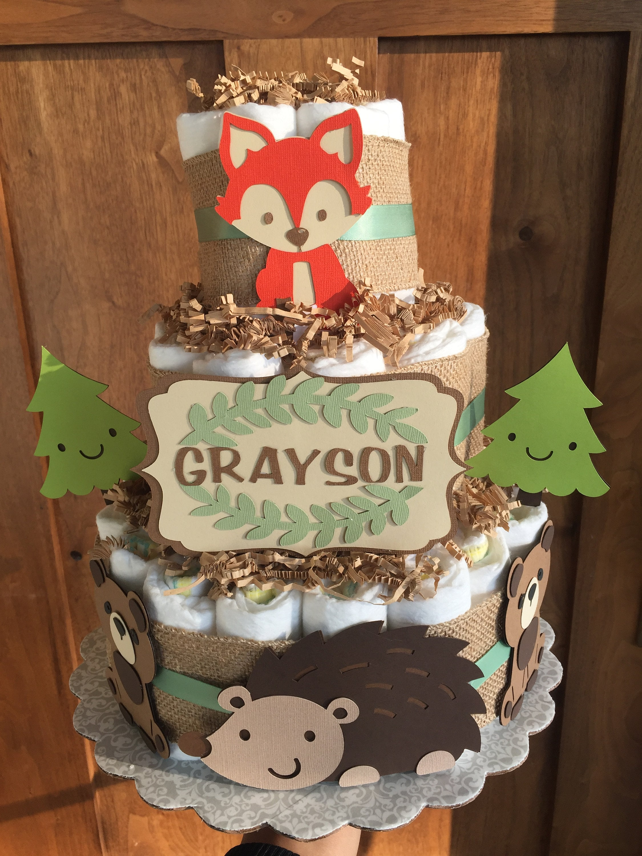 Woodland Baby Shower Decorations Diaper Cakes Woodland Animals