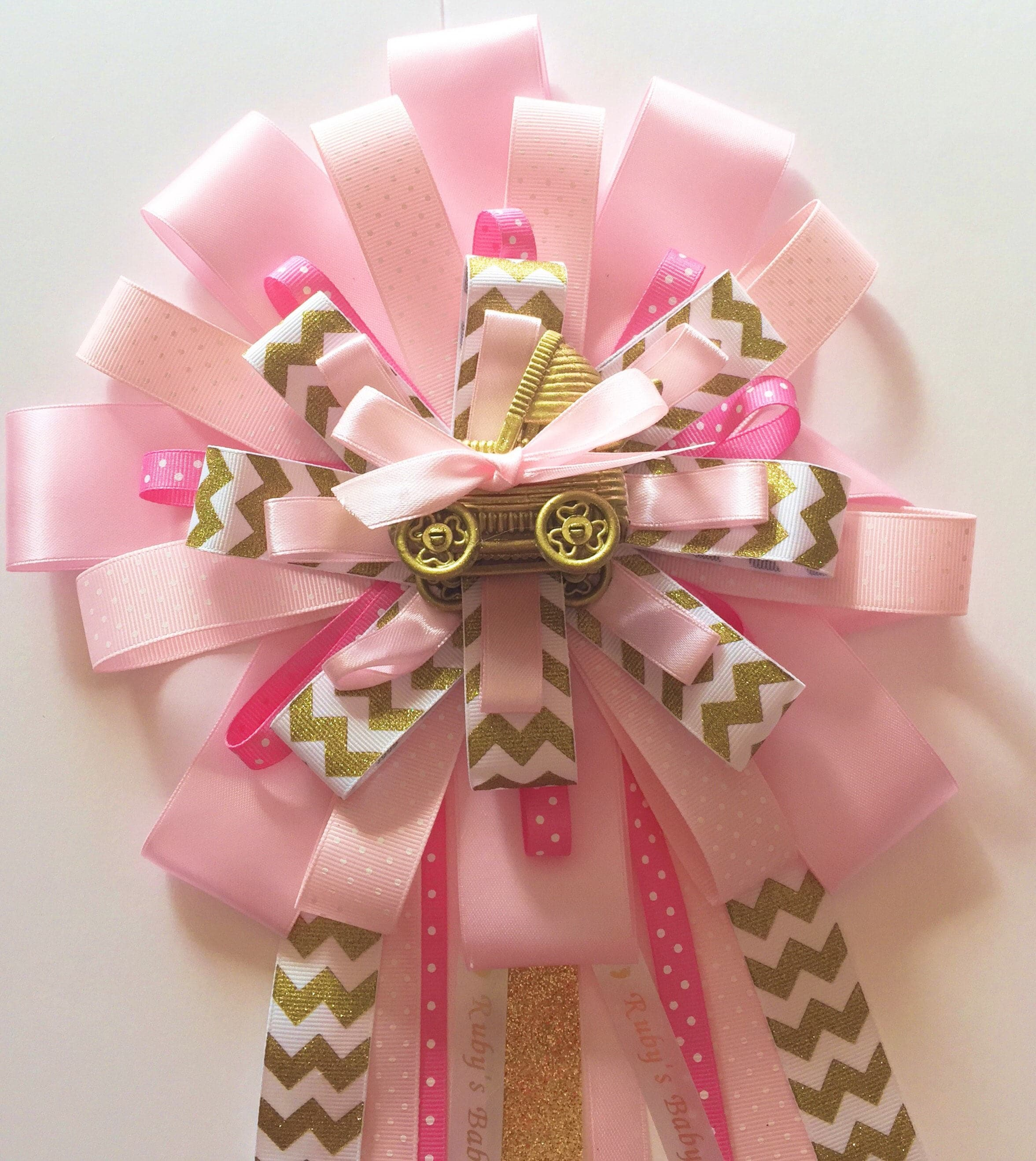 Deluxe Princess Girl Baby Shower Corsage Pink Gold Mom To Be