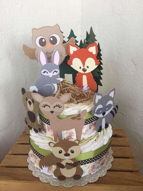 Woodland Diaper Cake Forest Animals Baby Shower Diaper Cake Etsy
