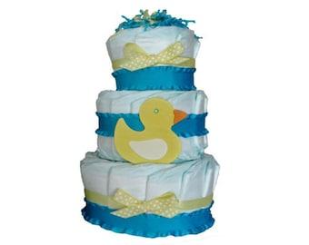 Duck Diaper Cake. Baby Shower Diaper Cake. Baby Shower Decor. Baby Shower Gift.