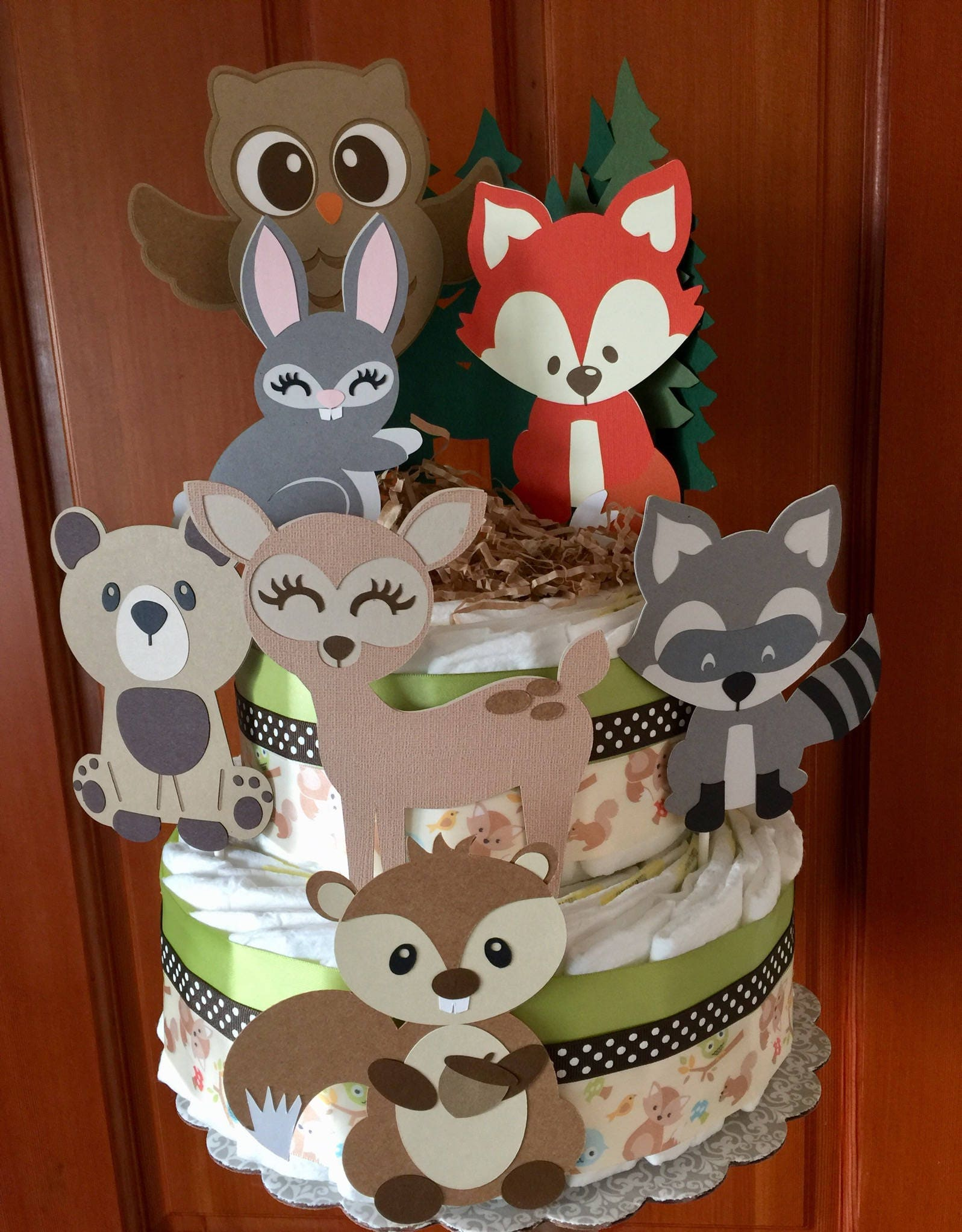 Woodland Diaper Cake, Forest Animals Baby shower Diaper ...