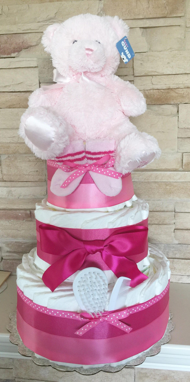 Girl Diaper Cake Baby Shower Centerpiece Hot Pink Baby Shower