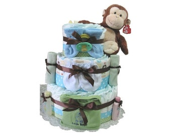 Boy Diaper Cake, Layered Cake made of diapers decorated with Monkey theme. Unique gift for babies