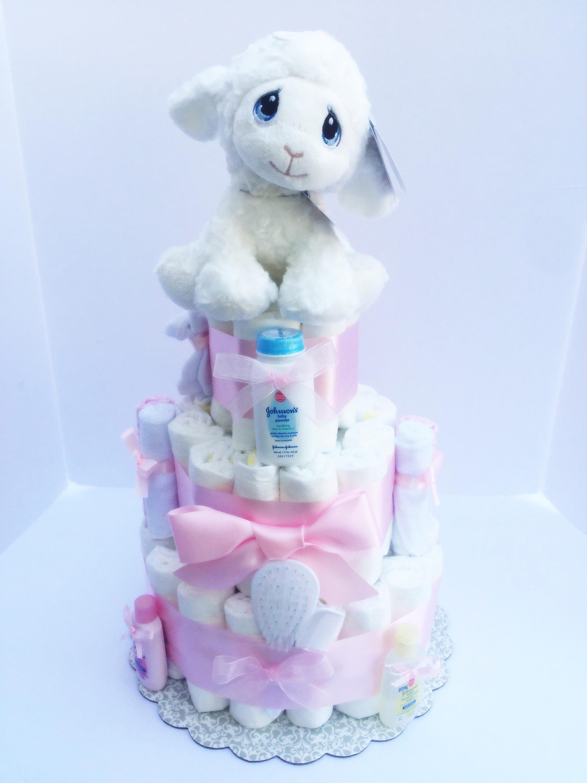 Diaper Cake Girls Pink Girl Diaper Cake Lamb Pink Baby Shower