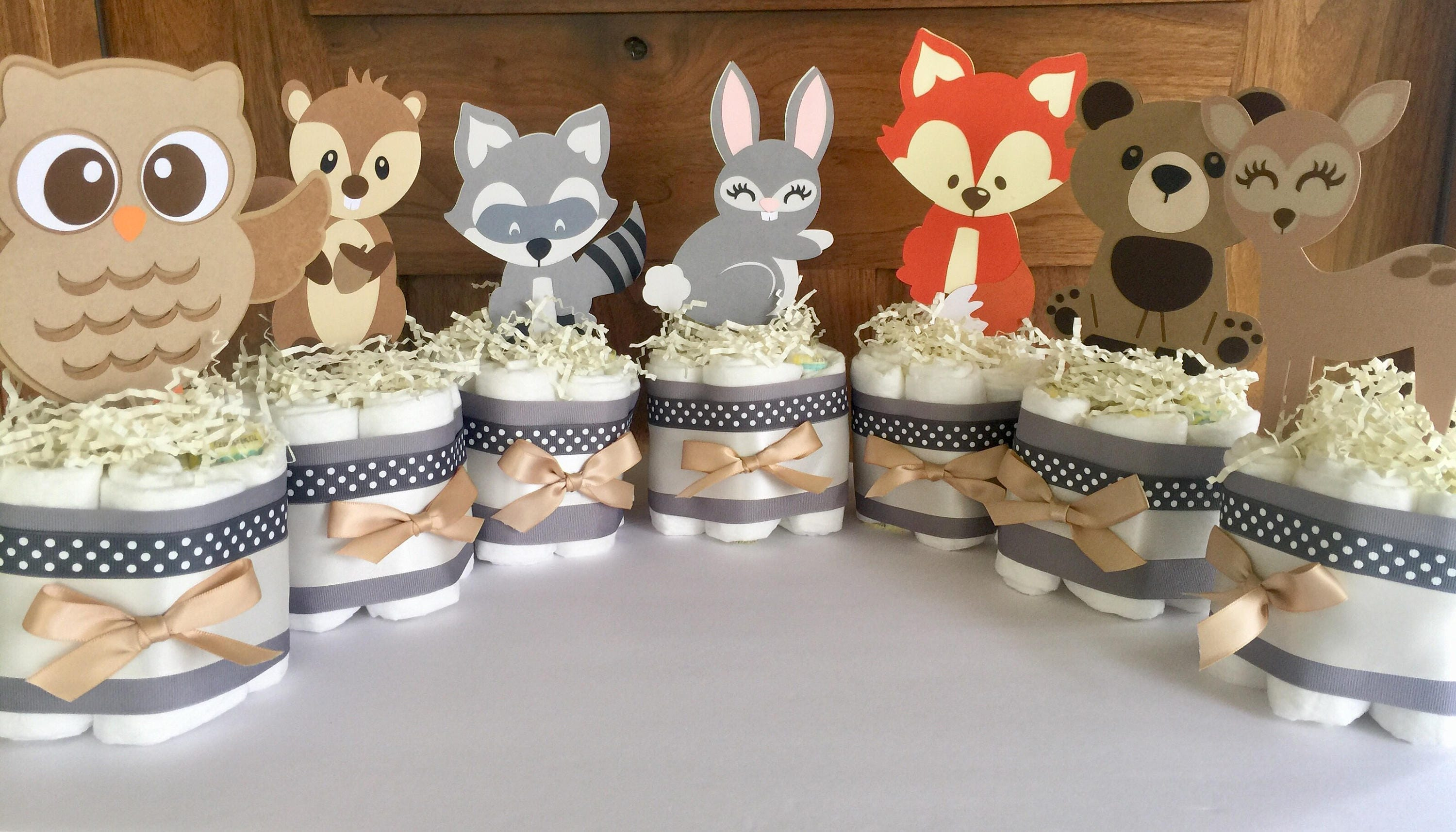 Woodland Table Decorations Woodland Forest Diaper Cakes Etsy