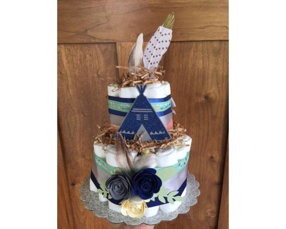 Teepee arrow diaper cake wild child diaper cake Tribal Baby Boho diaper cake boho decorations Be Brave Baby Shower Tribal Diaper Cake