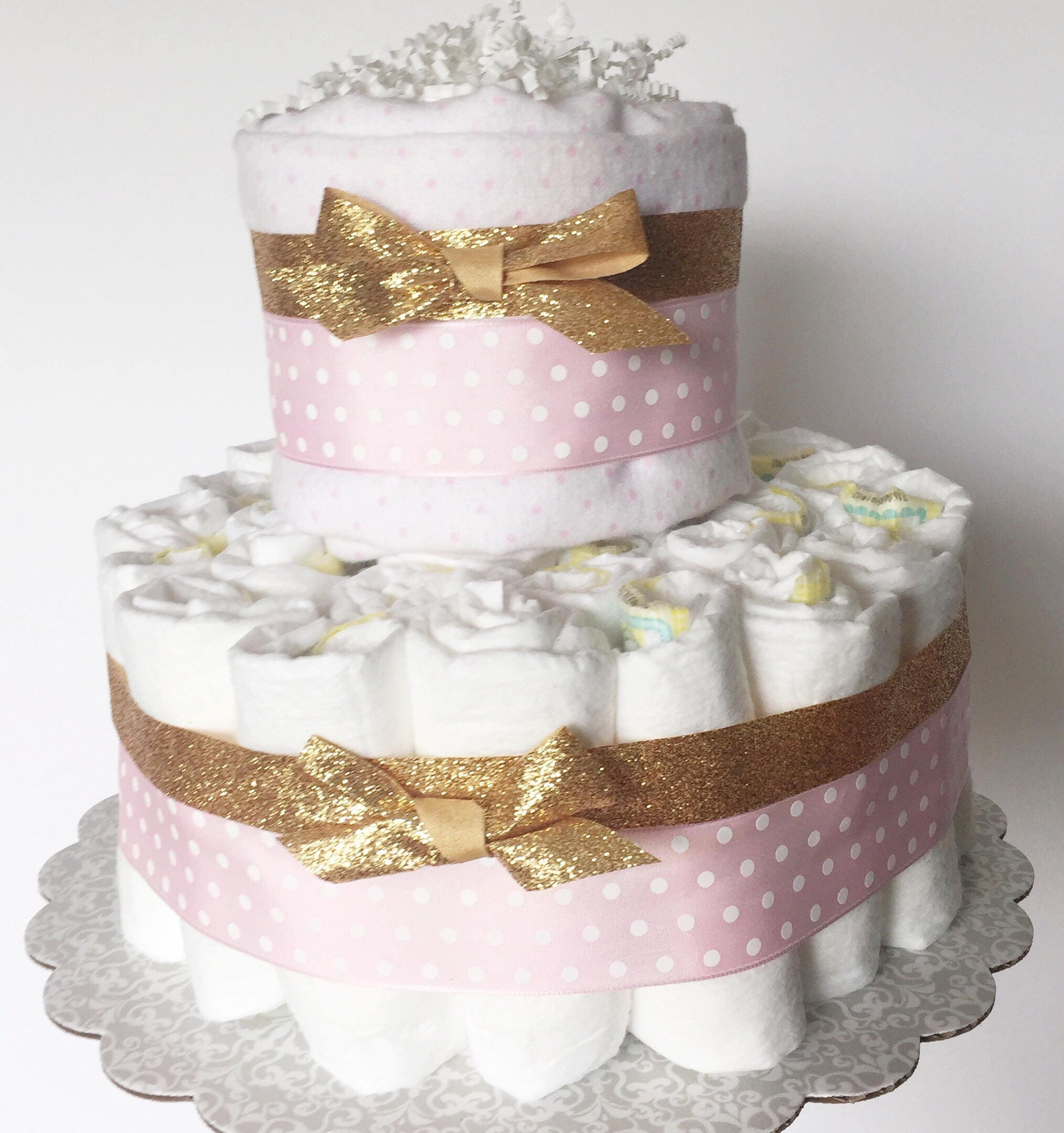 Pink Gold Baby Shower Pink Gold Diaper Cake 2 Layer Pink