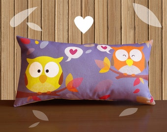 Decorative Pillow -RainbOWL- Purple/Yellow