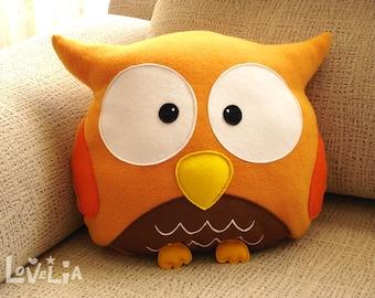 ORANGE OWL CUSHION RainbOWL -Decorative plush pillow - Lovelia - nursery decor, owl plush pillow, felt owl pillow, plush toy owl, handmade