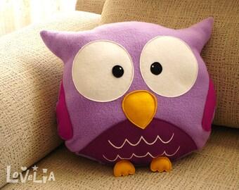 PURPLE OWL CUSHION RainbOWL -Decorative plush pillow - Lovelia - nursery decor, owl plush pillow, felt owl pillow, plush toy owl, handmade