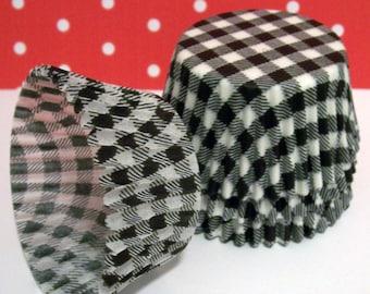 Cupcake Liners Choose Set of 50 or 100 Black Gingham Cupcake Liners
