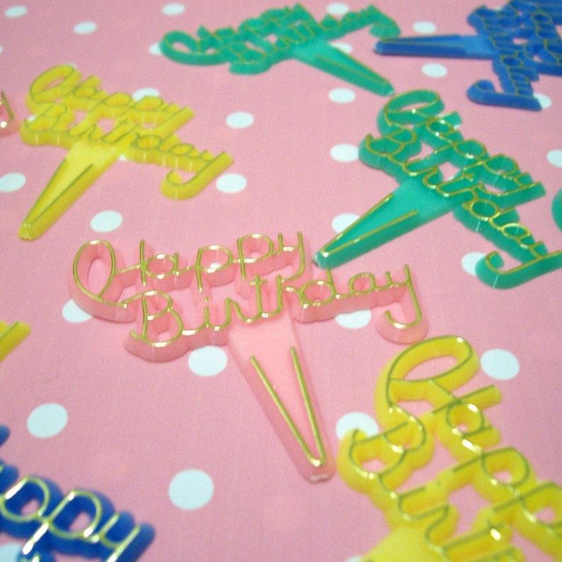 15 Kitshy Happy Birthday Cupcake Picks image 0