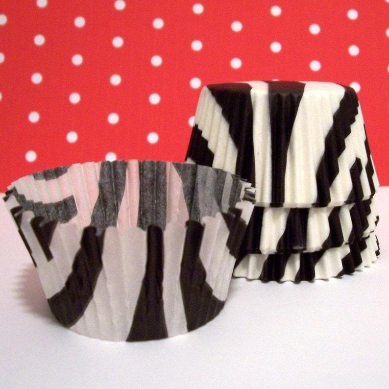 Choose Set of 50 or 100 Black Zebra Striped Cupcake Liners