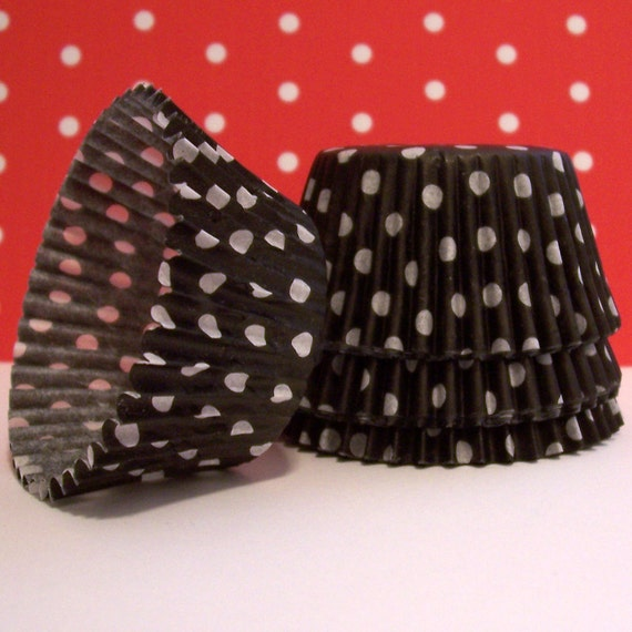 Black with White Polka Dots Cupcake Liners- Choose 50 or 100