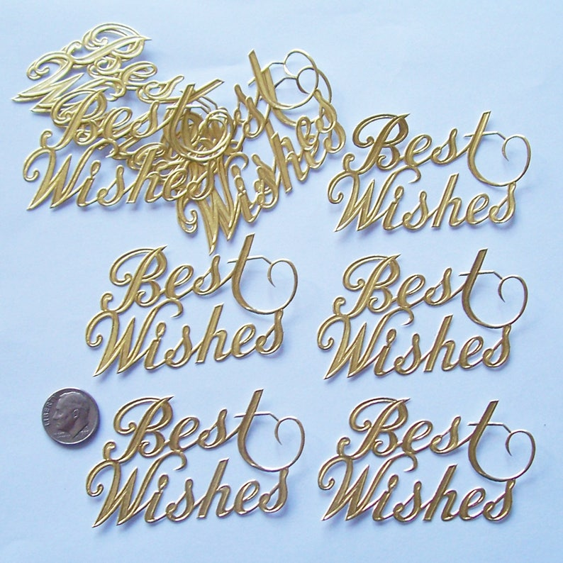 10 Best Wishes Gold Foil Paper Script Cake Toppers 2 12