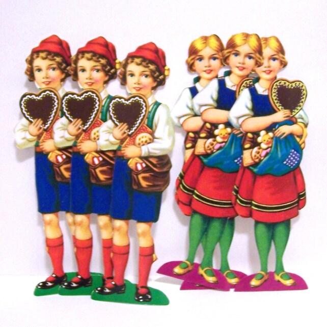 6 New Vintage Hansel & Gretal Die Cut Paper  for baking decorations Scrap Reliefs Embellishments for Cards Scrapbooks