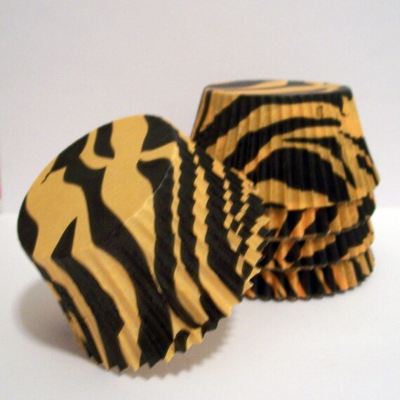 50 Orange and Black Zebra Striped Cupcake Liners