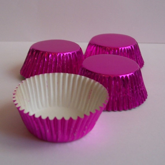 MINI Fuschia Foil Baking Cups- Candy Liners- Choose Set of 50 or 100