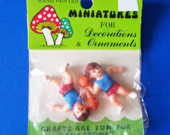 Handpainted Miniatures Vintage Two Kids holding Basketballs  for Craft