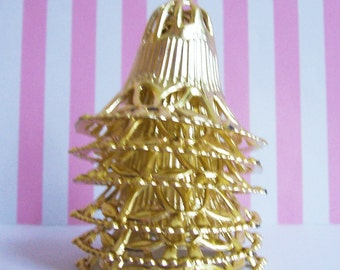 6 Gold Filligree Bell Cake Decorations 2""