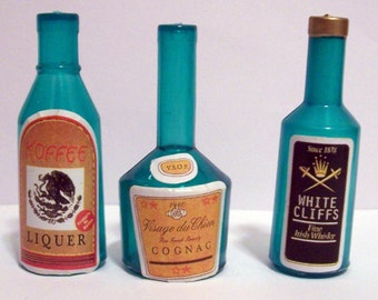 6 Miniature Liquor Bottle Cake Toppers