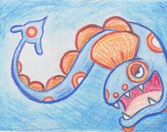 Original Art - Pokemon Drawing - ACEO - Huntail. Water Pokemon Gift. Anime Gift. Gamer Gift. Eel. corlista. korlista. Savannah Mitchell art.