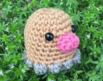 READY TO SHIP - Crochet - Chibi Pokemon Amigurumi - Diglett