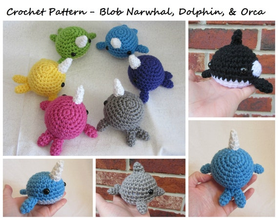 Crochet Pattern Blob Narwhal Dolphin And Orca Whale Etsy